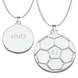 HACOOL 925 Sterling Silver Personalized Unisex Soccer Pendan