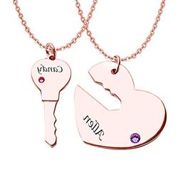 HACOOL Personalized 925 Sterling Silver Birthstone Couple Ne