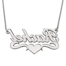 HACOOL Personalized Heart 925 Sterling Silver Name Necklace