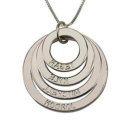 HACOOL Personalized Mother Necklace Sterling Silver 4 Discs