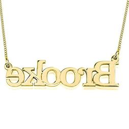 HACOOL Personalized Name Necklace Pendants 18k Gold Plated C