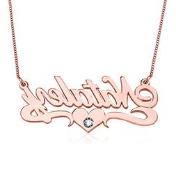HACOOL Sterling Silver Birthstone Name Necklace with Center