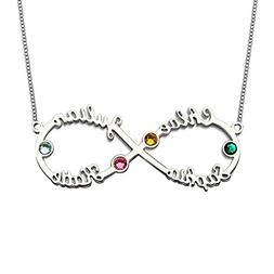HACOOL Sterling Silver Personalized Family Birthstone Neckla