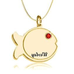 HACOOL Sterling Silver Personalized Kids Fish Name Necklace