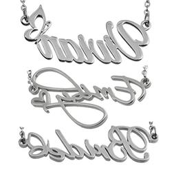 HUAN XUN Custom Name Necklace Silver Color with Heart Butter