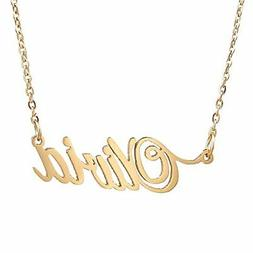 HUAN XUN Gold Color Plated Cursive Name Necklace, Olivia
