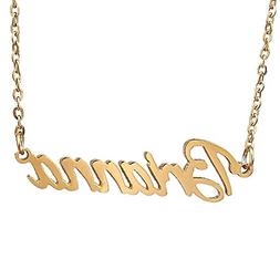 HUAN XUN Gold Plated Cursive Name Necklace, Brianna