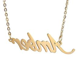 HUAN XUN Gold Plated Personalized Name Necklace, Amber