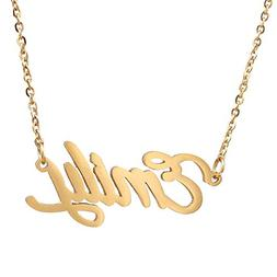 AOLO Gold Plated Tiny Mom Necklaces with Kids Names Emily