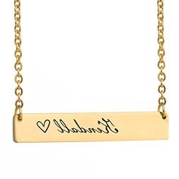 HUAN XUN Kendall Name Personalized Name Necklace Gold Bar In