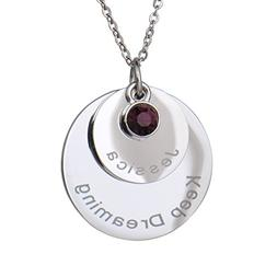 HUAN XUN Personalized Custom Name Disc Pendant Necklace with