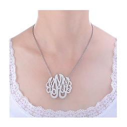 "HUAN XUN Stainless Steel Initial Monogram Necklace , 16+2"" E"
