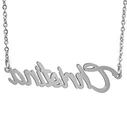 HUAN XUN Stainless Steel Nameplate Pendant Necklace, Christi