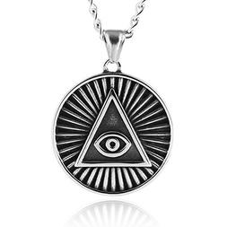 HZMAN Egyptian Evil Eye Pyramid Stainless Steel Pendant Neck