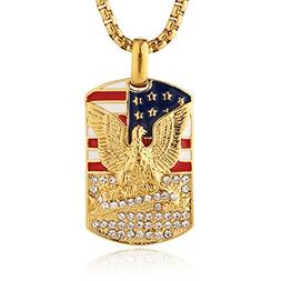 HZMAN Men's 18k Gold Plated Stainless Steel 3D Eagle America