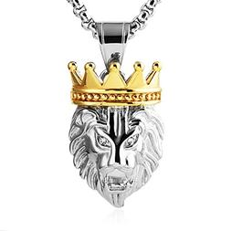 HZMAN Men's Silver Gold Tone Stainless Steel Lion King Penda