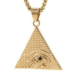 HZMAN Stainless Steel Egyptian Eye of Horus Ra Pyramid Penda