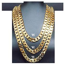 Hollywood Jewelry 14K Gold Chain Cuban Necklace 11MM Miami L
