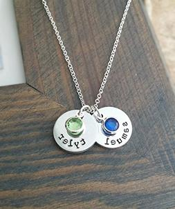 Kids Names Necklace with Personalized Discs and Birthstones