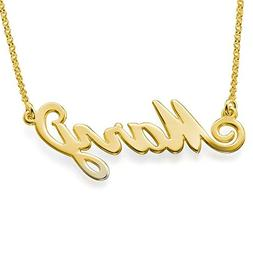 LONAGO Personalized Name Necklace 18K Gold Over Brass Custom