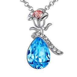 """Leafael """"Lovely Rose"""" Made with Swarovski Crystals Blue Tear"""