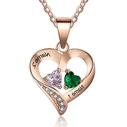Love Jewelry Personalized 2 Names Necklace with 2 Heart Simu