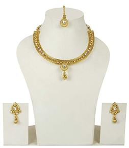MUCH-MORE Elegant Gold Plated Crystal Stone Polki Necklaces