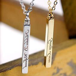 Men's Vertical id name Bar Custom Necklace Machine Engraving
