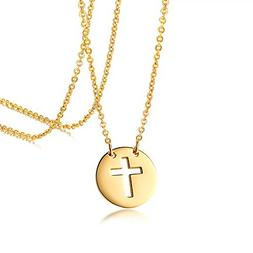 Molike Small Cross Necklace 14K Gold Hollow Coin Pendant Nec