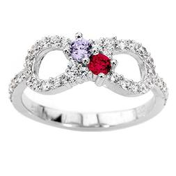 NANA Infinity Couples 2 stones Ring with His & Hers Simulate