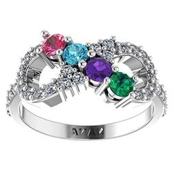 NANA Infinity Mothers Ring with 1 to 6 Simulated Birthstones