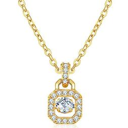 Onefeart Gold Plated Pendant Necklace for Women Girls Round
