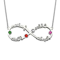 Ouslier Personalized 925 Sterling Silver Birthstone Infinity