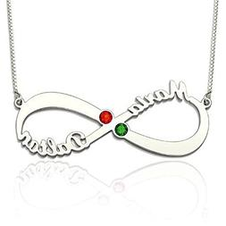 Ouslier Personalized 925 Sterling Silver Infinity Name Birth
