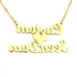 Personalized Custom 2 Names Necklace Customized Love Heart C