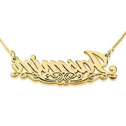 Personalized Custom 24k Gold Plated Name Necklace with Under