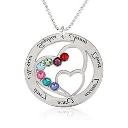 Personalized Heart Necklace with Simulated Birthstones Mothe