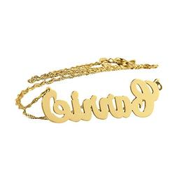 Dainty Carrie Name Necklace Personalized Solid 10k Gold Pend