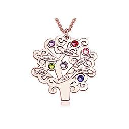 Personalzied Family Tree Necklace with Birthstones Sterling