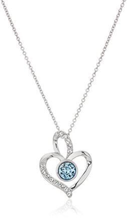 Platinum Plated Sterling Silver Swarovski Crystal Aquamarine