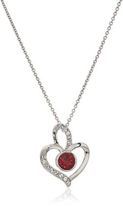 Platinum Plated Sterling Silver Swarovski Crystal Ruby Color