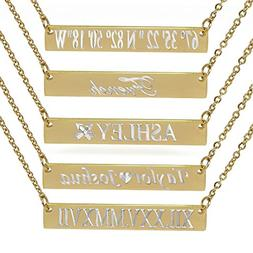 ProLuckis Bar Necklace Personalized Name Necklace 18k Gold P