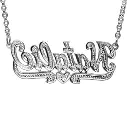 """SNS355Lw Personalized 2.25"""" Large Size Rhodium Plated Sterli"""