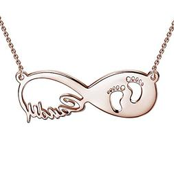 SOUFEEL Baby Feet Custom Name Necklace Infinity Necklace Per