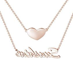 SOUFEEL Personalized Necklace Custom Name Necklace Rose Gold