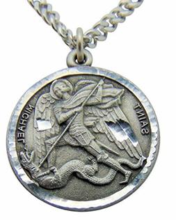 Saint Michael Round Pewter Medal Pendant 1 Inch on 24 Inch S