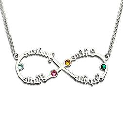 Silver Infinity 4 Names Necklace with Birthstones Personaliz