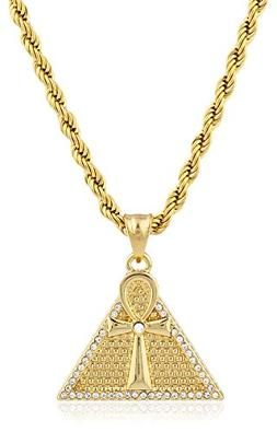 Stainless Steel Goldtone Pyramid and Ankh Pendant with 23.5