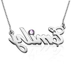 Sterling Silver Personalized Name Necklace with Swarovski Bi