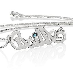 Sterling Silver Personalized Name Necklace with simulated Bi